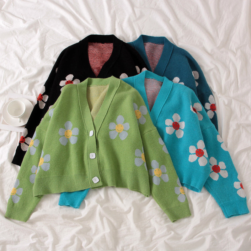 "4 COLORS ""FLOWERS"" SWEATER BY21077"
