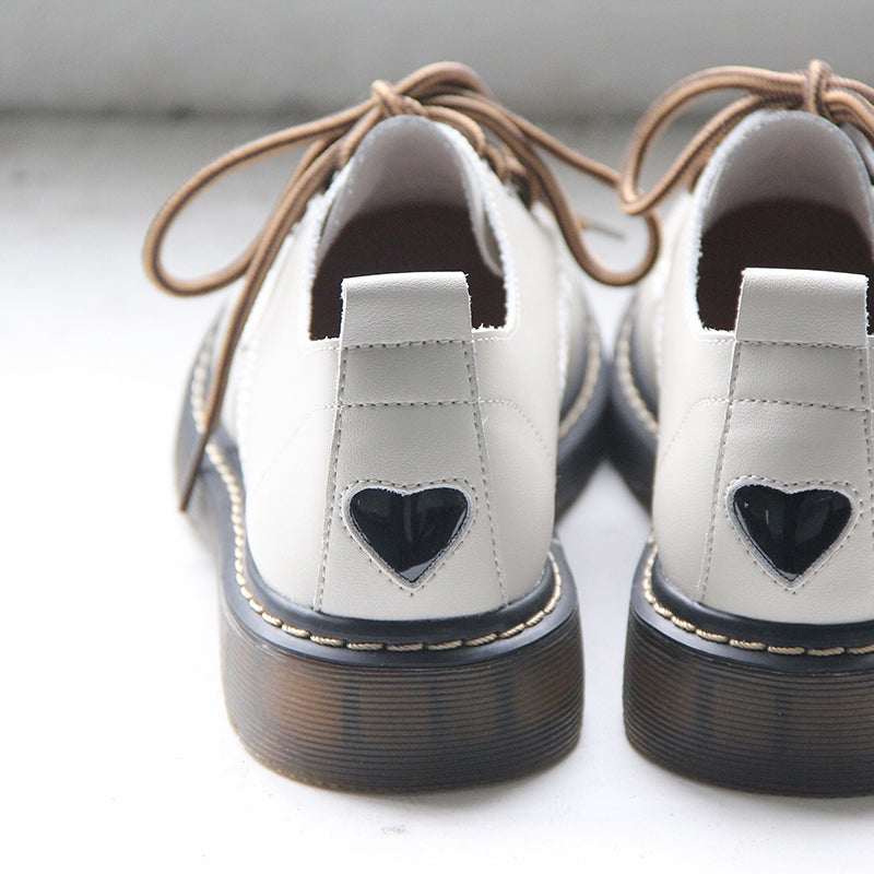 """LOVE"" FLAT-SOLED RETRO LEATHER SHOES BY81022"