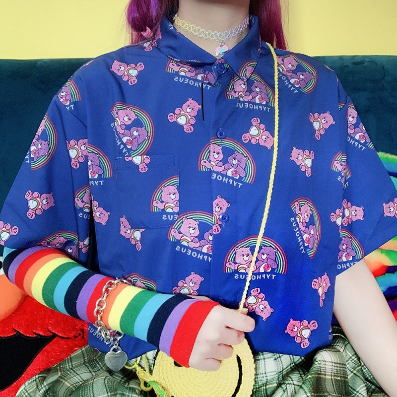 JAPANESE HARAJUKU CARTON RAINBOW CUTE BEAR CHIFFON SHIRT BLOUSE BY22250