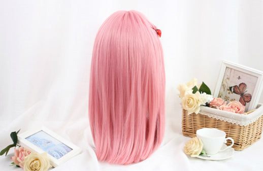 PINK AIR BANGS ROUND FACE WIG BY31084