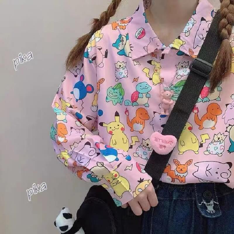 PINK CARTOON PIKACHU POKEMON LONG-SlEEVE SHIRT BY22554