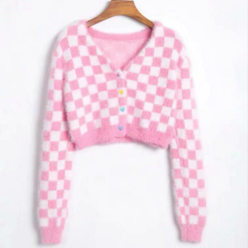 PINK PLAID VELVET SWEATER BY21148