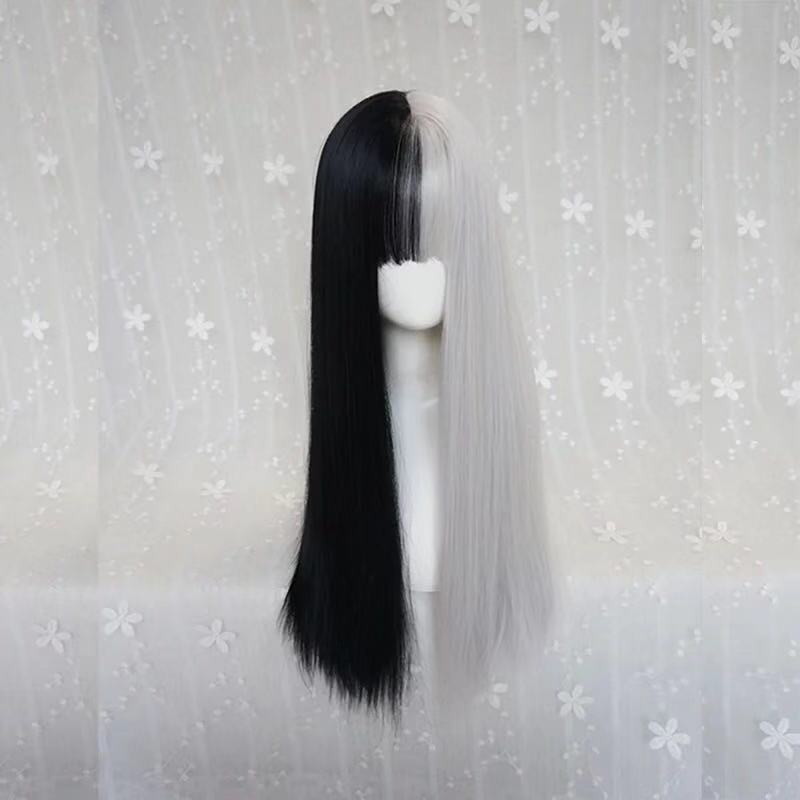 PUNK BLACK WHITE LONG STRAIGHT WIG
