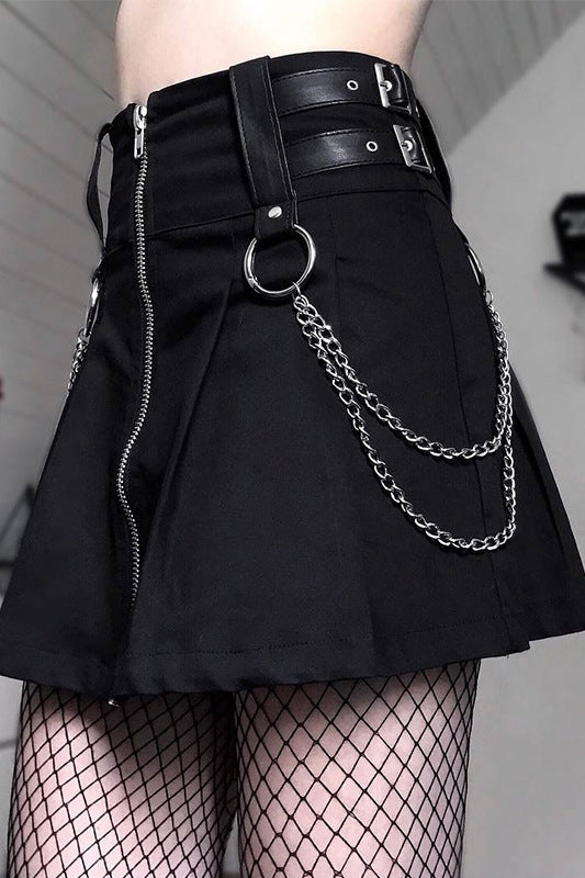 PUNK DARK METAL CHAIN PLEATED SKIRT BY61034