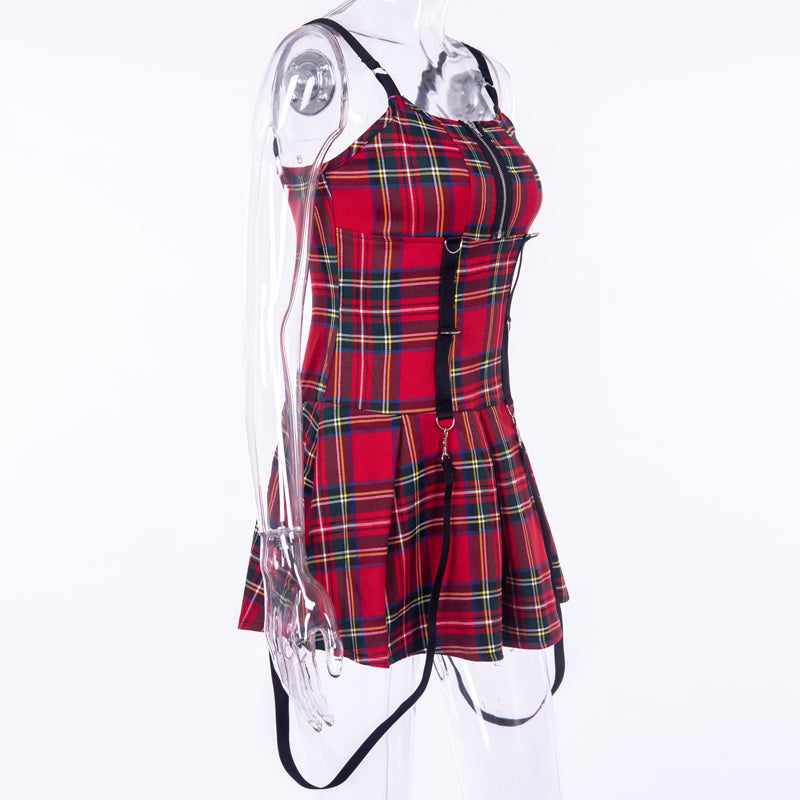 PUNK SLEEVELESS RED CHECKED DRESS BY71037