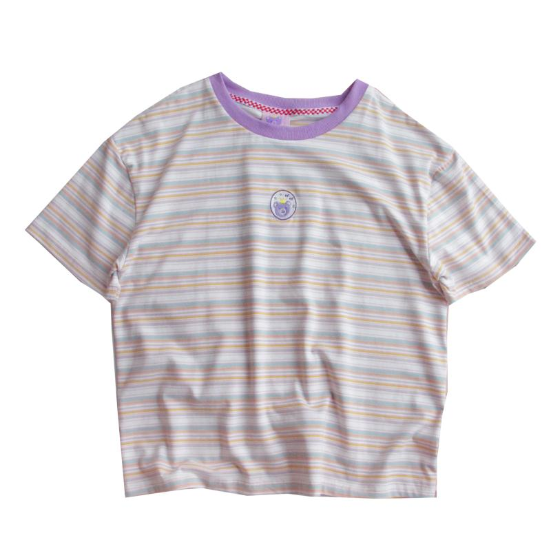 SOFTGIRL PURPLE STRIPE COTTON T-SHIRT BY22169