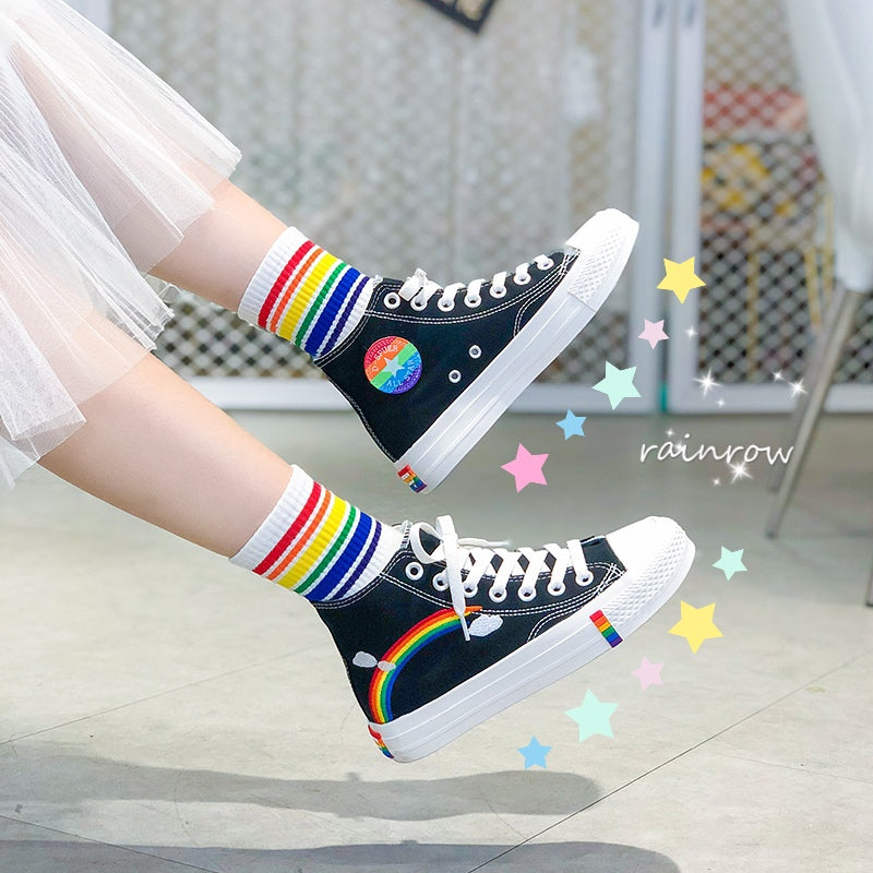 RAINBOW CANVAS SHOES BY81017