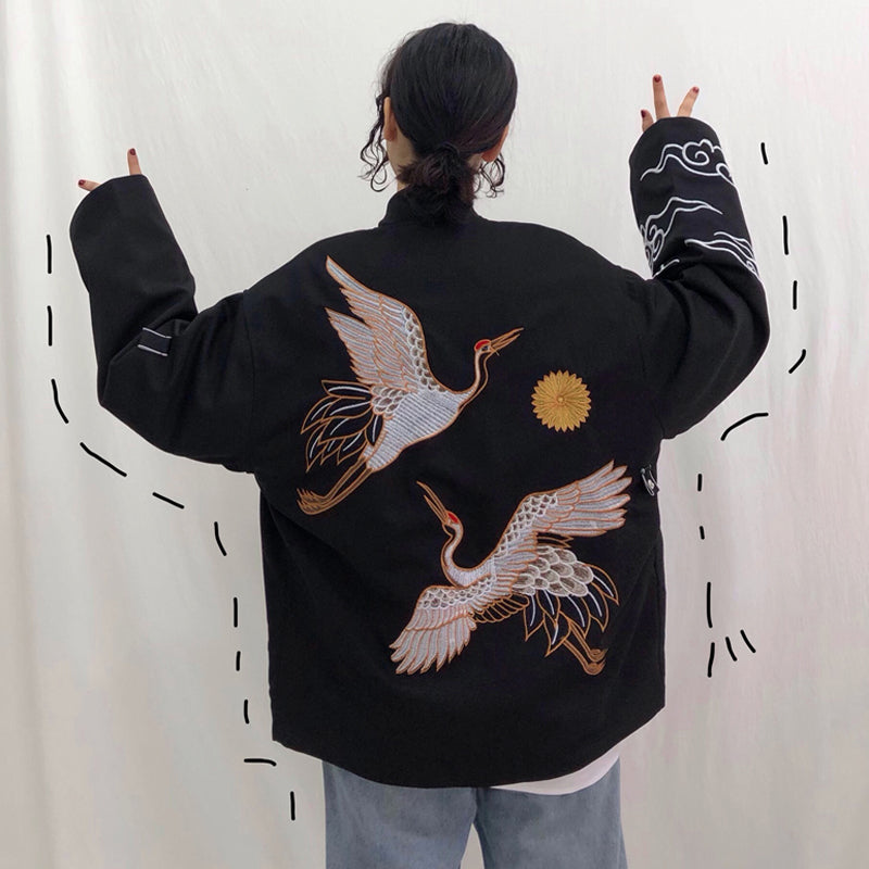 RED-CROWNED CRANE EMBROIDERY COAT BY24044