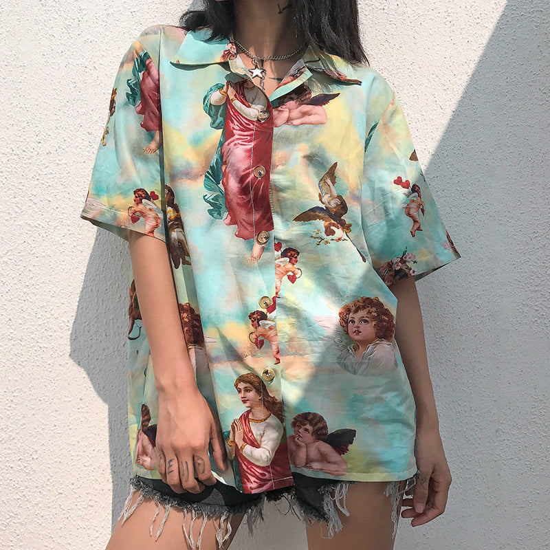 RETRO ANGEL PRINT LOOSE LONG SHIRT BYB22391