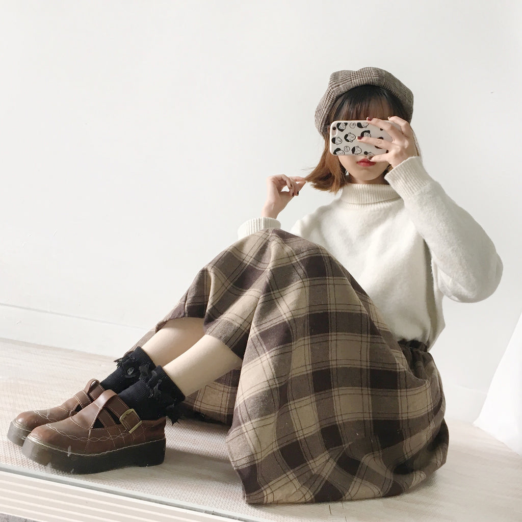 RETRO CHOCOLATE PLAID WOOL SKIRT BY61120