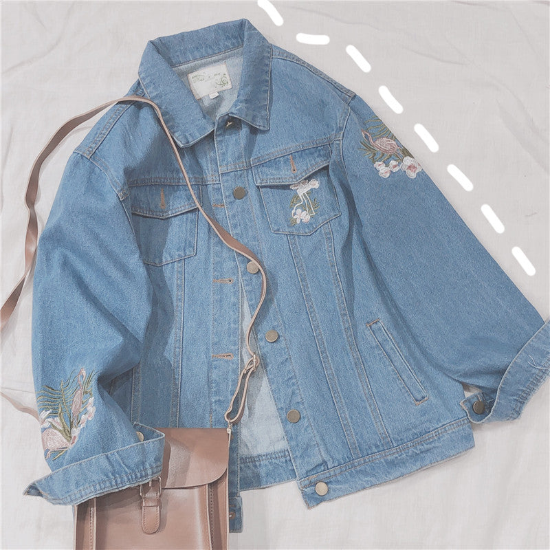 RETRO EMBROIDERY DENIM COAT BY24018