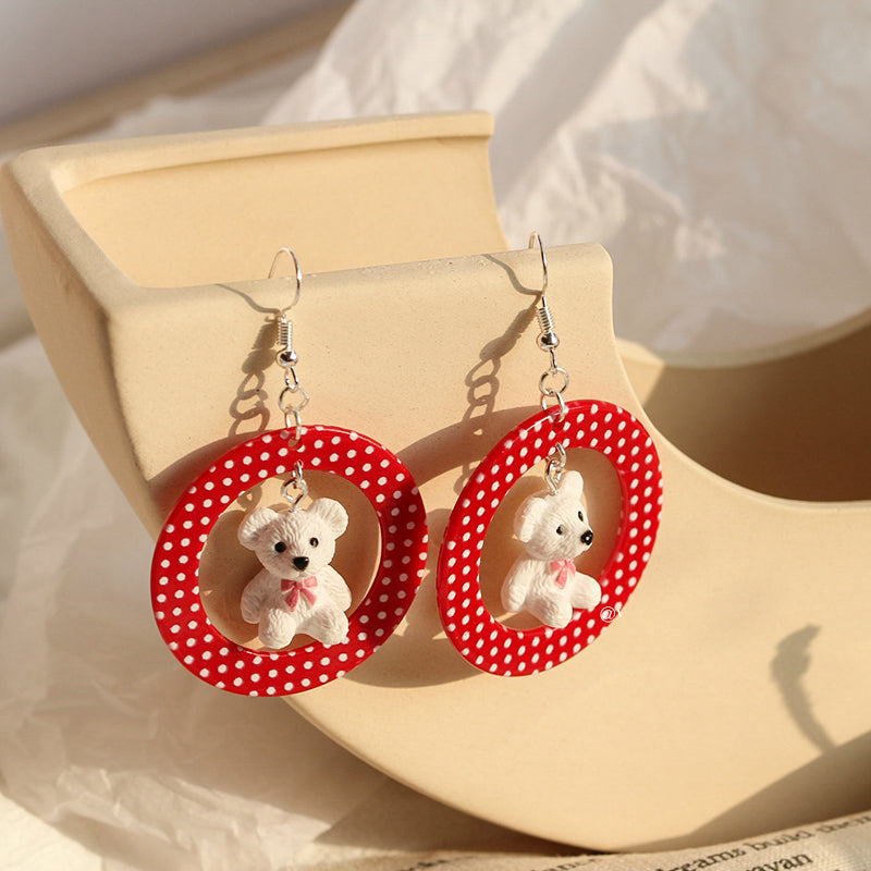 RETRO POINT BEAR EARRINGS BY14008