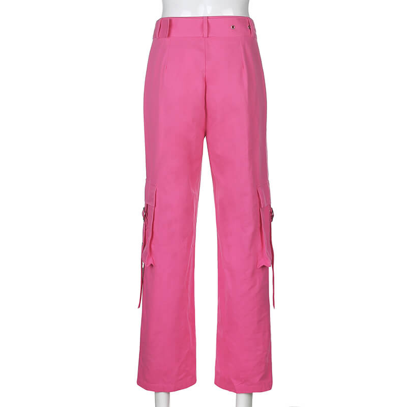 STREET FASHION PASTEL PINK HIGH WAIST POCKET PANTS BY55522