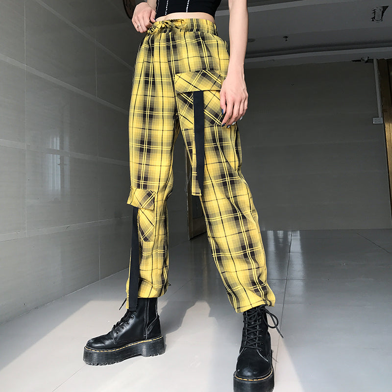 STREET ELASTIC WAIST CHECKED OVERALLS PANTS BY63031