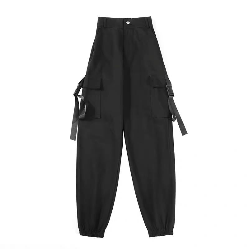 STREET FASHION BLACK OVERALLS PANTS SUIT BY63040