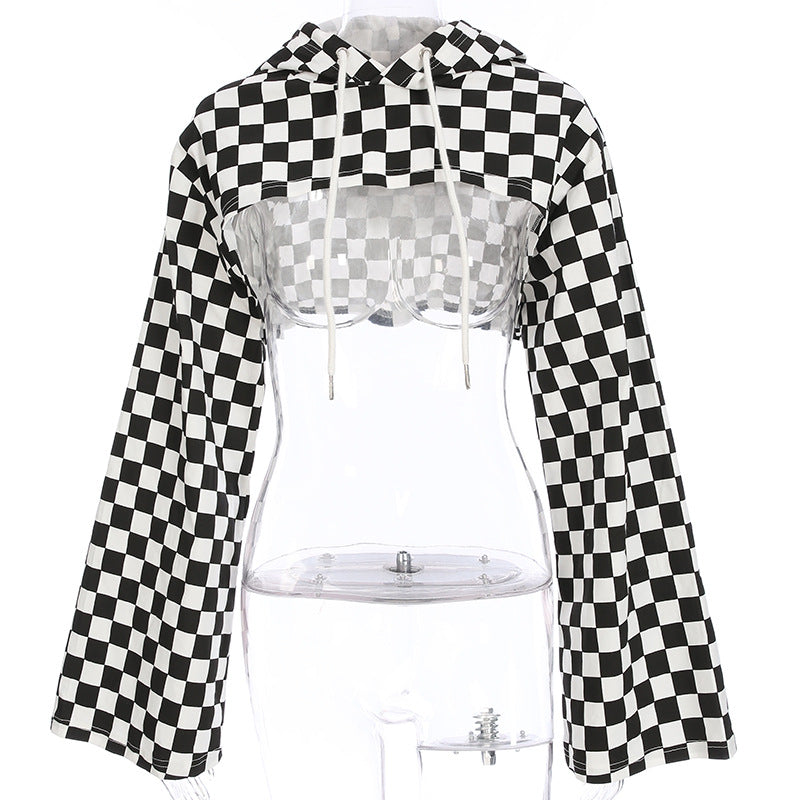 STREET FASHION BLACK WHITE CHECHERS SHORT BLOUSE BY22228