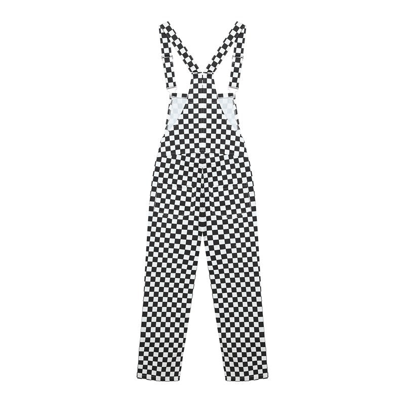 STREET FASHION BLACK WHITE CHECKERS OVERALLS PANTS BY63044