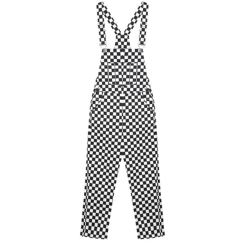 STREET FASHION BLACK WHITE CHECKERS SUSPENDERS PANTS BY63044