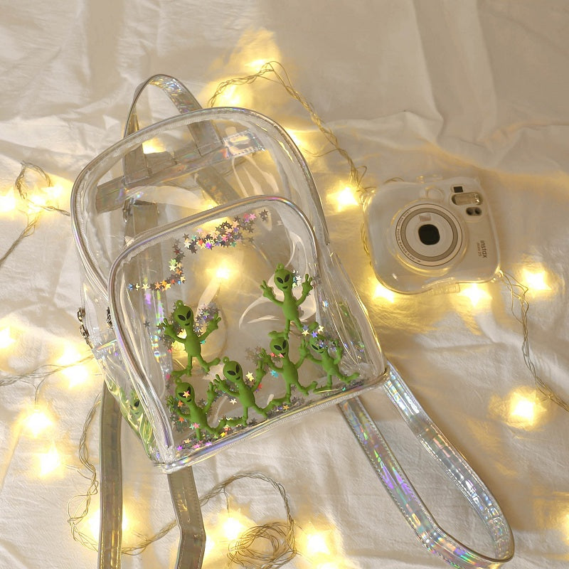 STREET FASHION LASER ALIEN TRANSPARENT BACKPACK BY91005