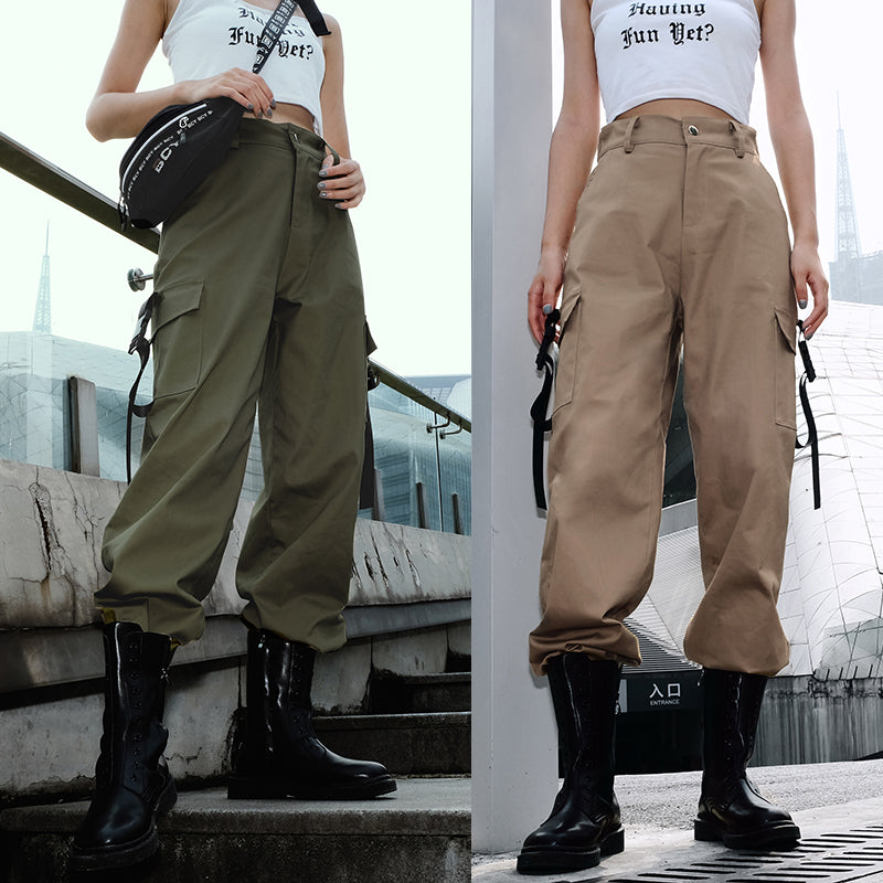 STREET FASHION POCKET OVERALLS PANTS BY63094
