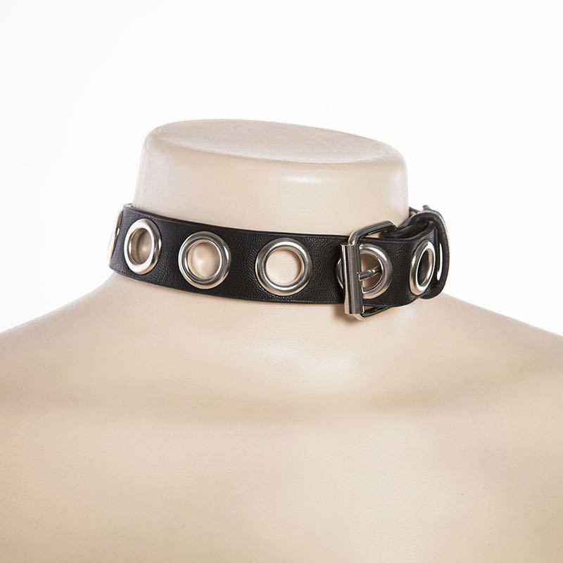 STREET FASHION RIVET PU BUCKLE NECKBAND BY13006