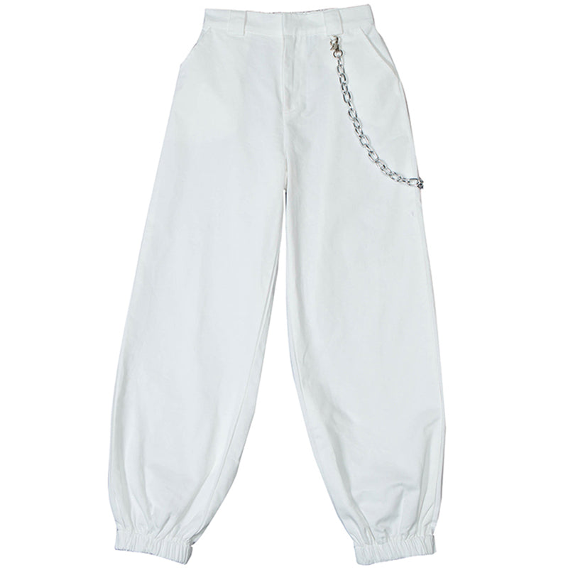 STREET FASHION WHITE CHAIN  PANTS BY63033