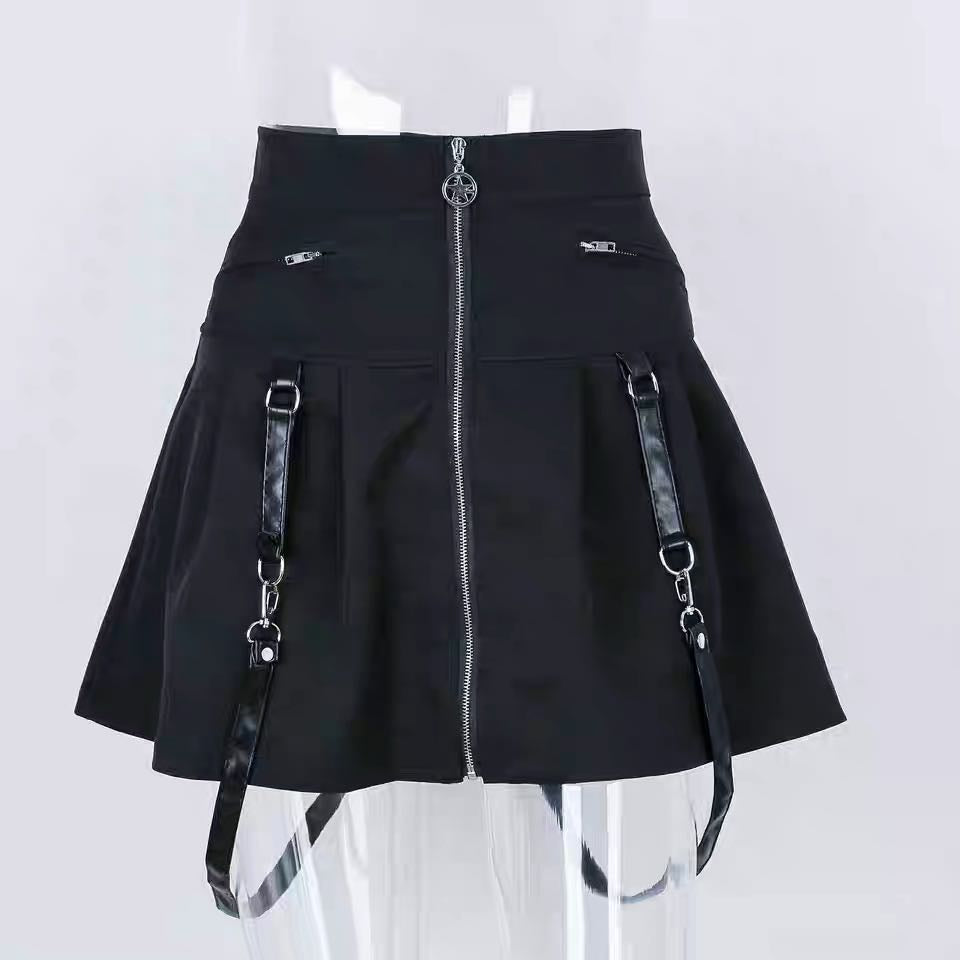 STREET FASHION ZIPPER RING SKIRT BY61045