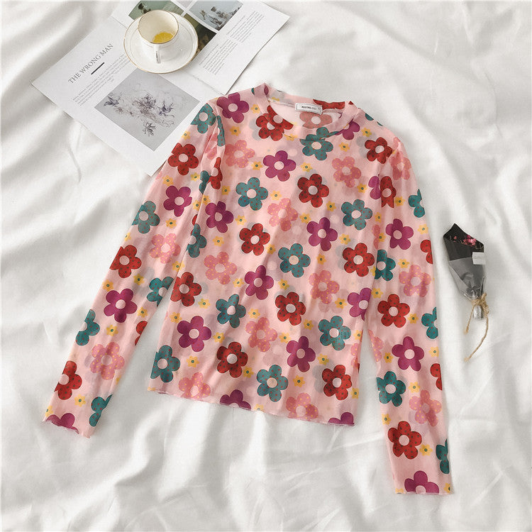 9 COLORS SUMMER TRANSPARENT ''FLOWER'' THIN MESH SHIRT BY22214