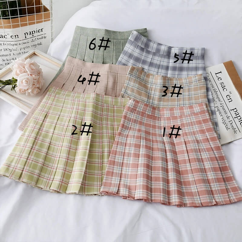 SWEET PREPPY STYLE PLEATED PLAID SKIRT BY61209