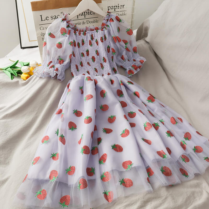 SWEET STRAWBERRY BLING MESH DRESS BY61503