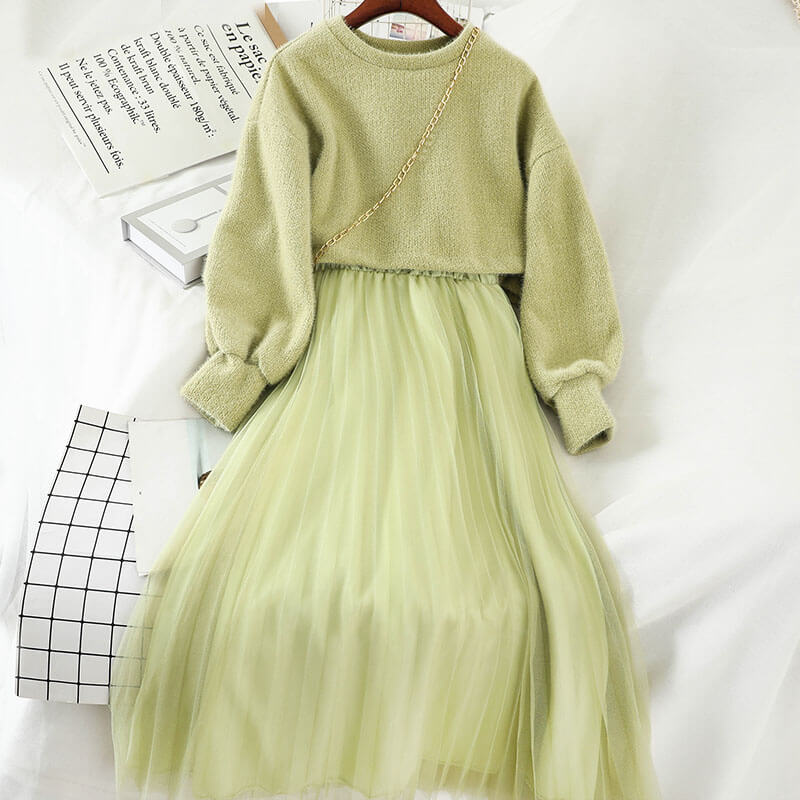 SWEET DRESS+SWEATER TWO PIECE SUIT BY71166