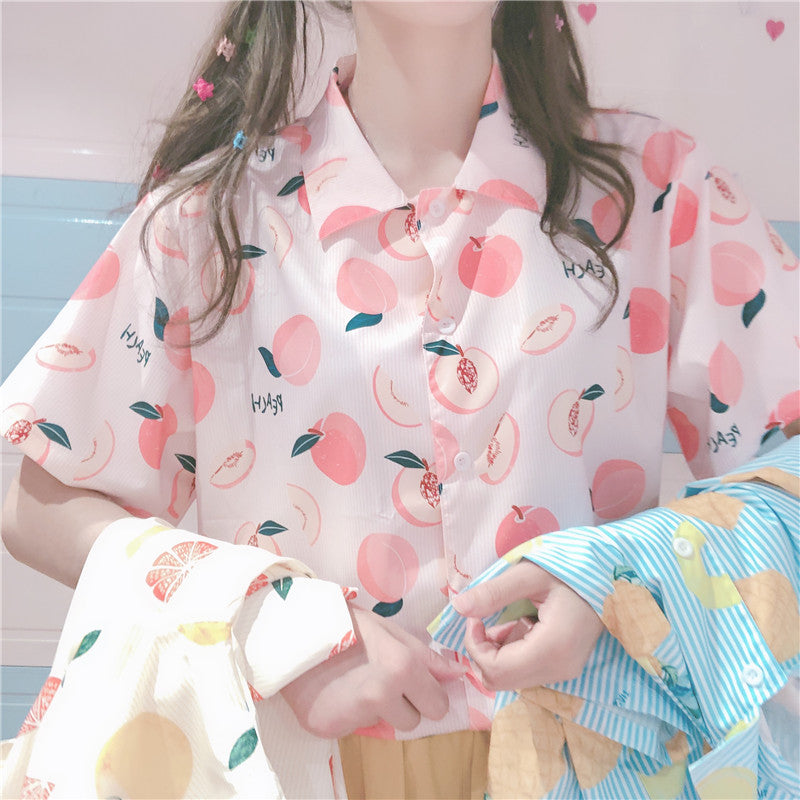 SWEET PEACH FRUIT PRINT SHORT-SLEEVE SHIRT BY22406