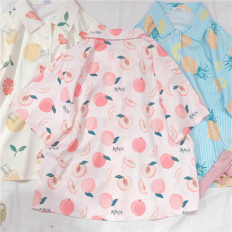 SWEET PEACH PRINT SHORT-SLEEVE SHIRT BY22406