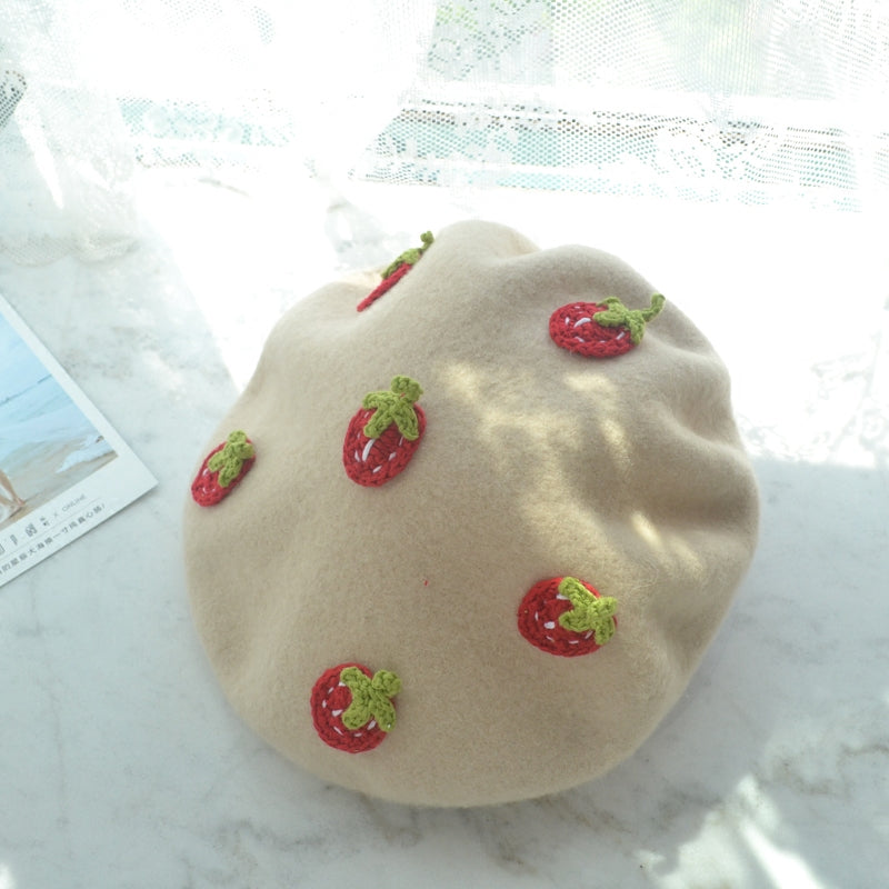SWEET STRAWBERRY BEIGE BERET HAT BY51005