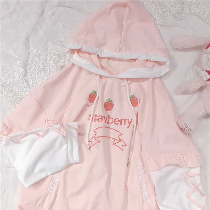 SWEET STRAWBERRY EMBROIDERY LONG SLEEVE HOODIE BY23119