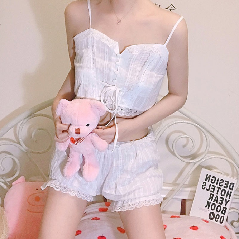 SUMMER LACE WHITE SLEEPWEAR HOME SUIT BY65009