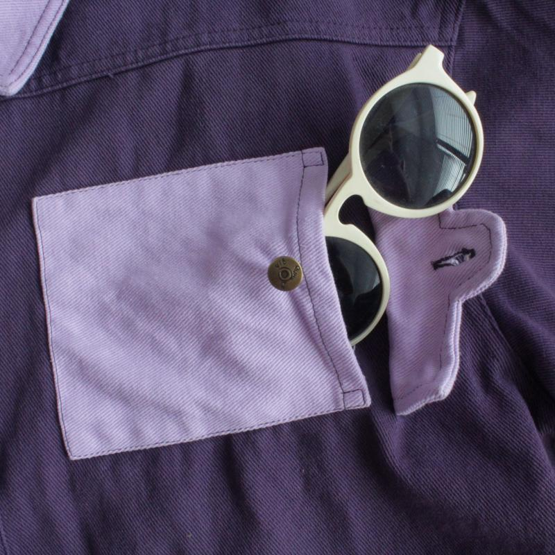 LOOSE STITCHED PURPLR DENIM JACKET COAT BY24012