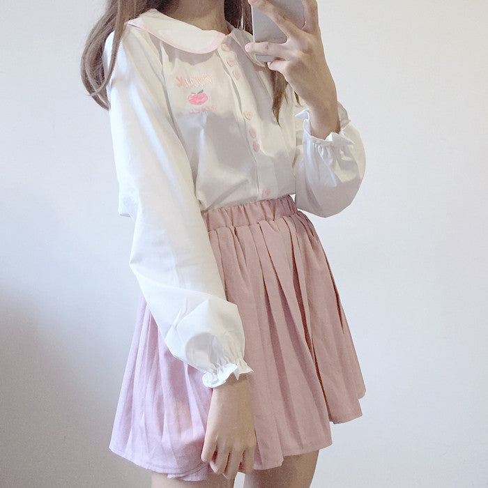 PINK PEACH EMBROIDERY SHIRT BY22525