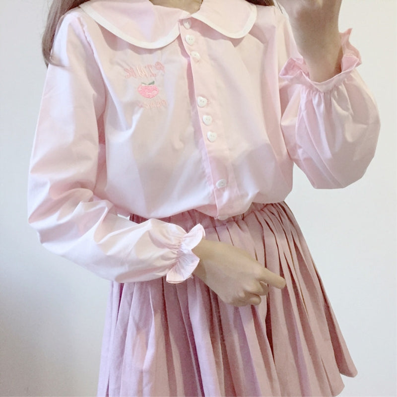 CUTE SOFTGIRL EMBROIDERY SHIRT BY22525