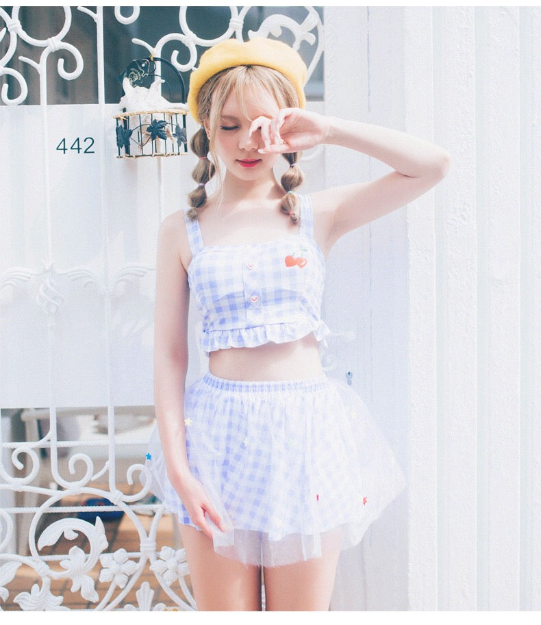 CUTE BLUE THREE-PIECE SWIMSUIT BY66010