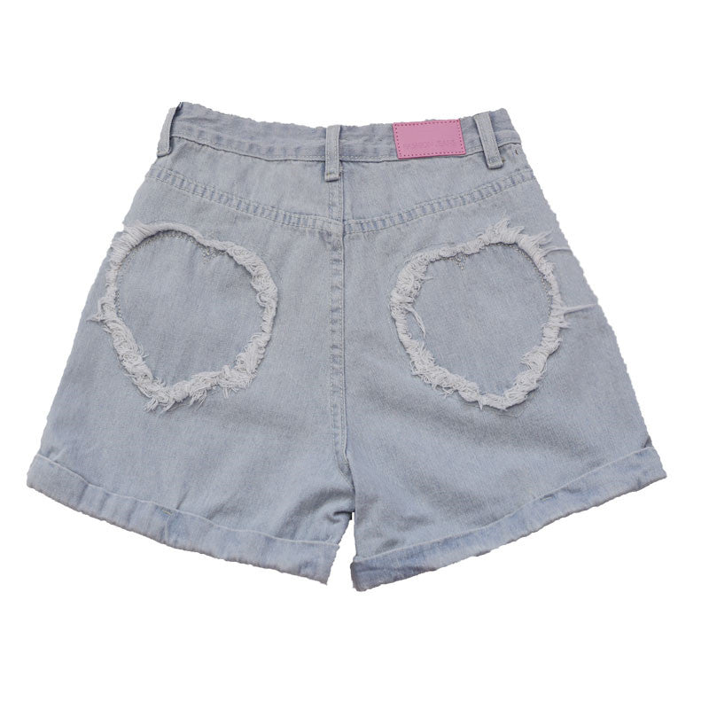 ULZZANG LOOSE LOVE JEANS SHORTS BY62027