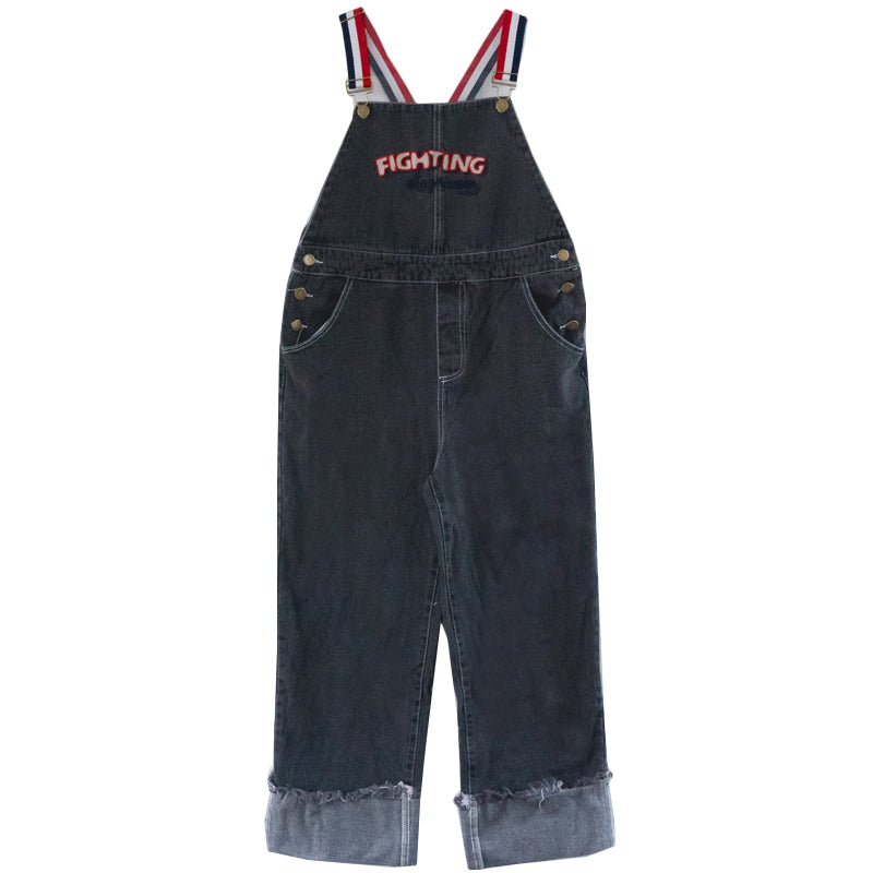 "RETRO ""FIGHTING"" DENIM OVERALLS BY63114"
