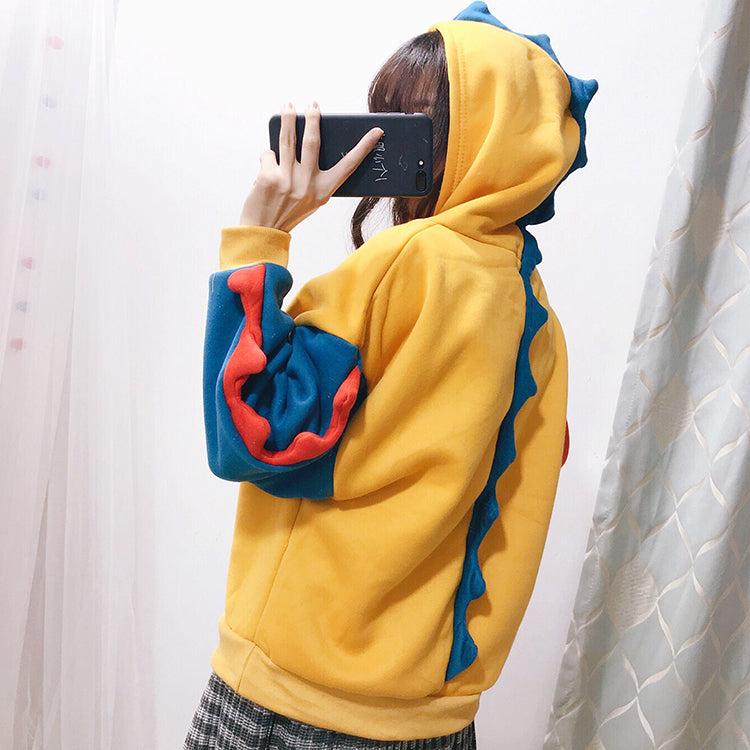 ''THIS IS A DINOSAUR'' STITCHING HOODIE BY23137