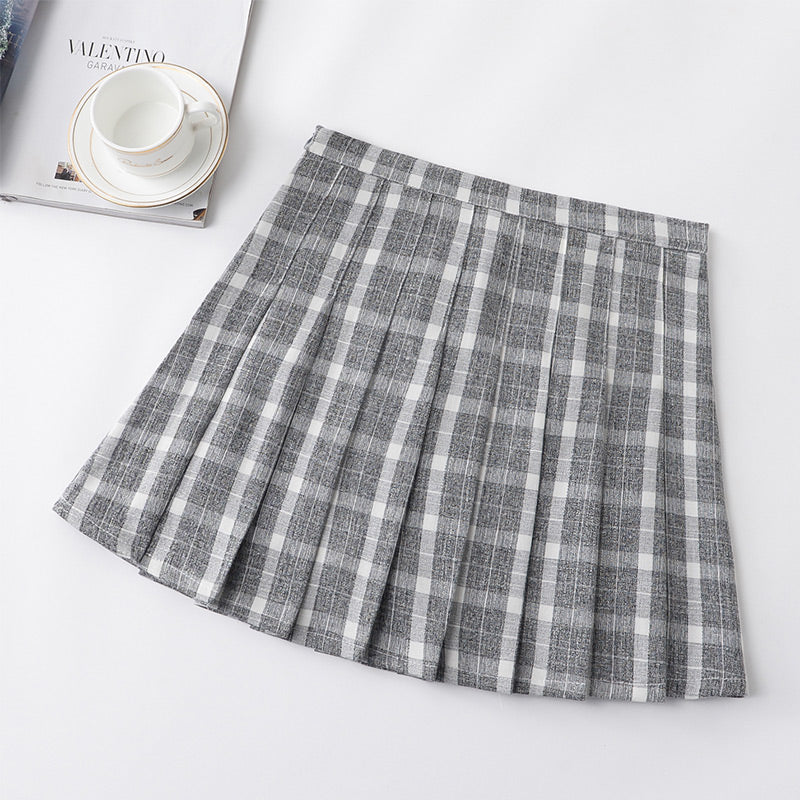 ULZZANG PREPPY STYLE GRID PLEATED SKIRT BY50405