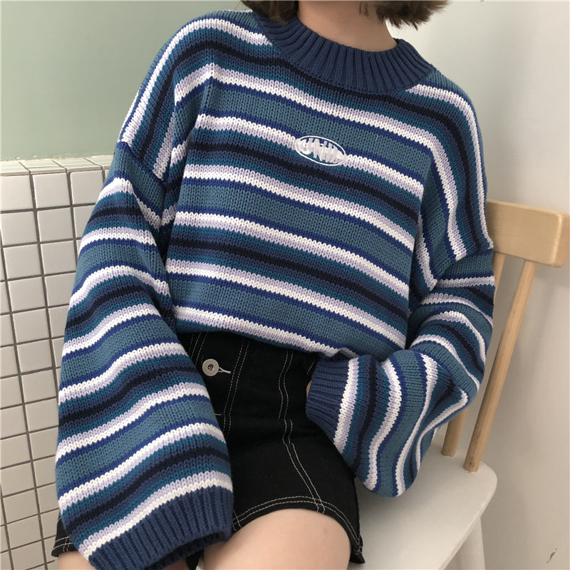 ULZZANG COLLEGE STYLE STRIPE KNIT SWEATER BY21045