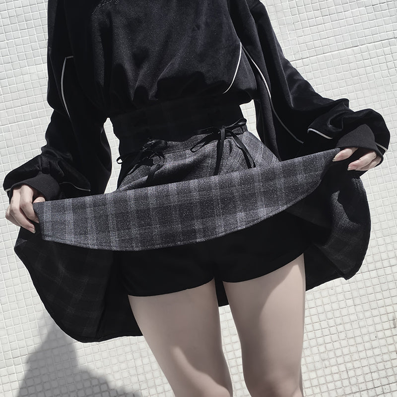 ULZZANG RETRO GRAY GRID SKIRT BY61036