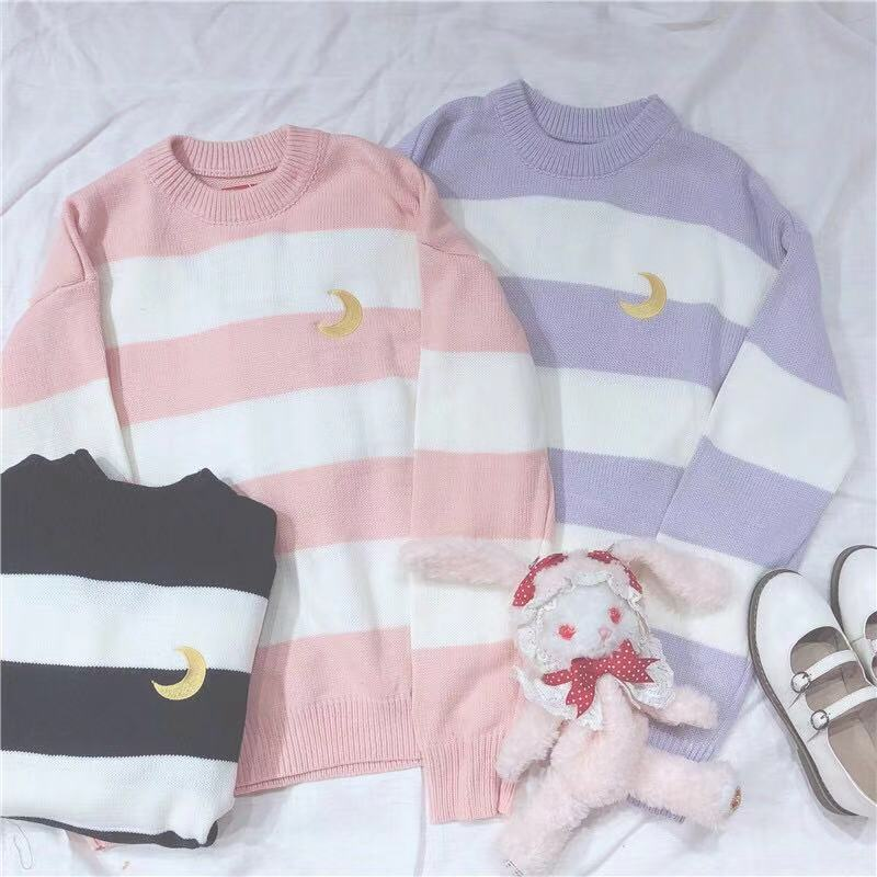 UlZZANG STRIPE MOON KNIT SWEATER BY21085