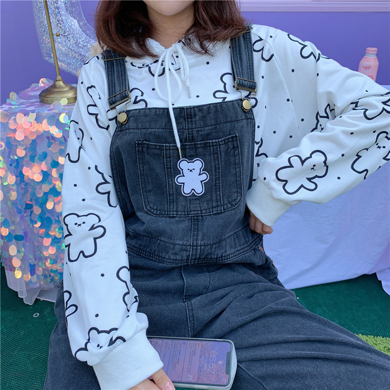 VINTAGE CUTE BEAR EMBROIDERY OVERALLS PANTS BY63142