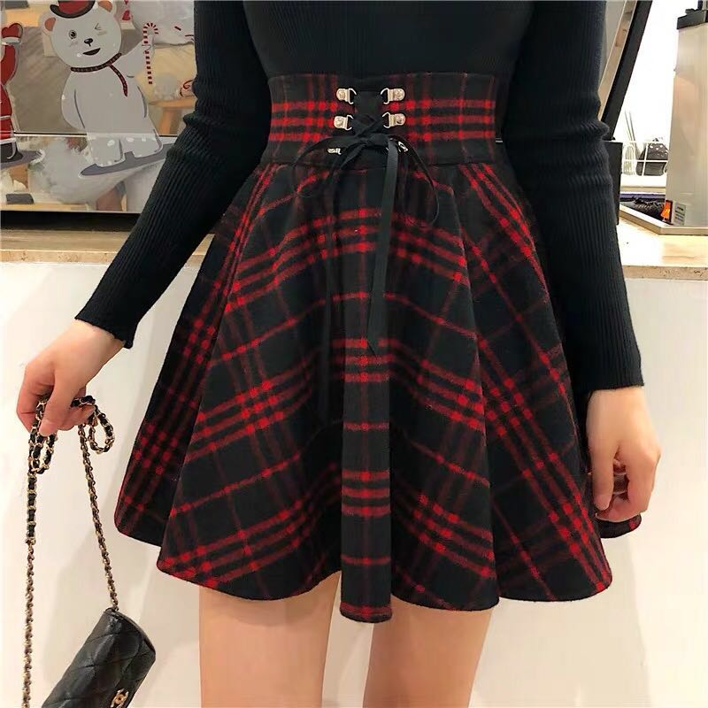 WOOL RED PLAID SKIRT BY61117