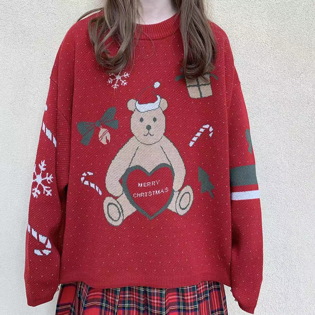 ''MERRY CHRISTMAS'' LOVE BEAR KNIT SWEATER BY21061